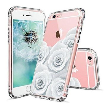 DCCKV2S iPhone 6s Case, iPhone 6 Case for Girls, MOSNOVO White Roses Floral Printed Flower Clear Design Transparent Plastic Hard Slim Back with TPU Bumper Protective Cover for Apple iPhone 6 6s (4.7 Inch)