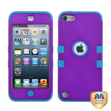 iPod Touch 5th / 6th Gen - Purple Teal Blue Armor Hard & Soft Rubber Hybrid Case