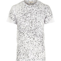 River Island MensWhite plaint splatter short sleeve t-shirt