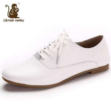Fashion casual women's shoes casual  small white shoes leather flat single shoes female free shipping