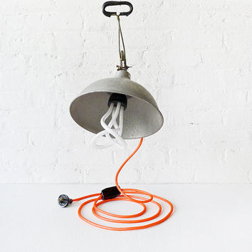 10% SALE - Vintage Industrial Clip Clamp Lamp - Bell Factory Light with Neon Orange Net Color Cord and Plumen Bulb
