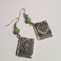 Lime green book lover's book charm dangle earrings