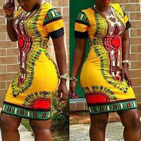 Dashiki Bodycon Printed Dress