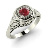 Ruby & Diamond Ring in 14k White Gold | 0.59 ct. tw. | Round Cut | Saskia | Diamondere