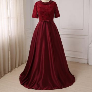Mother Of The Bride Dresses New Elegant O-Neck Lace and Satin Formal Dresses Wedding Evening Party Mother Gowns