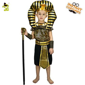 2018 New Design Kids Egyptian priest Costumes Boys Honor Cosplay Egypt Leader Clothing Fancy Dress For Children Halloween