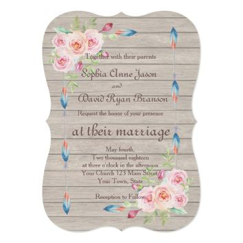 Rustic Watercolor Floral Old Wood Wedding Invite