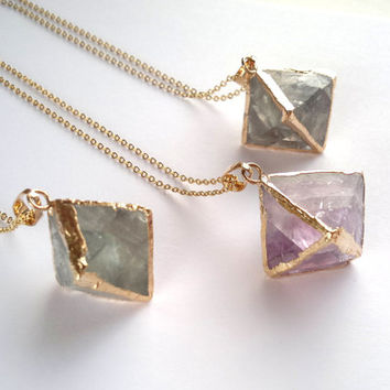 Fluorite Necklace Fluorite Pendant Raw Rough Fluorite Crystal Gold Dipped Crystal Neсklace Raw Mineral Jewelry Fluorite Cube Jewelry