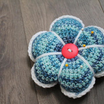 Pin Cushion, Sewing Pin Holder, Stuffed Crochet Flower, Blue and White, Gift for Sewer, Quilter Pin Cushion