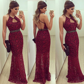 Sexy Mermaid Prom Dresses Formal Long Ball Prom Gown Sleeveless Lace  Long Dress Evening Party Gown