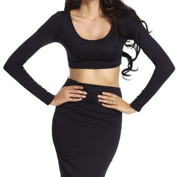 sexy long sleeved sets two piece skirt sets