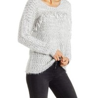 Med Gray Fuzzy Marled & Slub Knit Dropped Shoulder Sweater