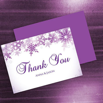 DIY Printable Wedding Thank You Card Template | Editable MS Word file | 3.5 x 5 | Instant Download | Winter Purple Bubble Snowflakes