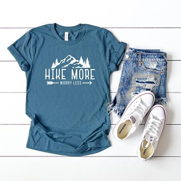 Hike More Worry Less   Short Sleeve Graphic Tee