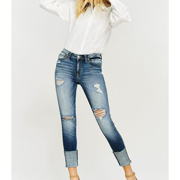 Women Distressed Skinny Jeans with Cuff Detail