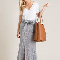 Adeline Navy Striped Maxi Skirt