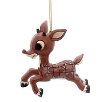 Jim Shore RUDOLPH FLYING ORNAMENT Polyresin Red-Nosed Reindeer 4053078