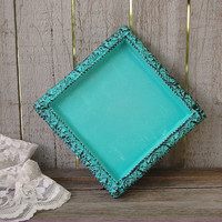 Tray, Shabby Chic, Tiffany Blue, Aqua, Black, Candle Tray, Dresser Tray, Upcycled