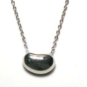 .925 Sterling Silver Rhodium Plated Bean Pendant Necklace 18 Inches