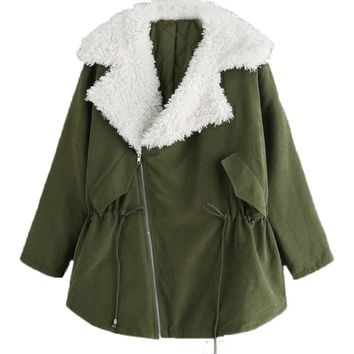 Winter Warm Parka Women New Padded Puffer Jacket Coat Velvet Collar Lapel Fleece Lined Parkas Outerwear Street Style Plus Size