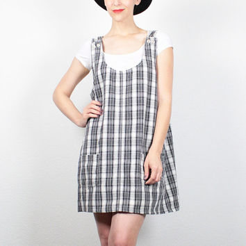 b9d5c9f7d2 Vintage 90s Dress Black White Tartan Plaid Overalls Dress Mini D
