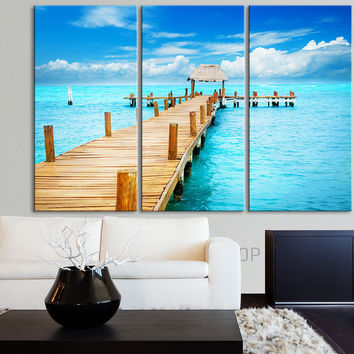 Large Wall Art Canvas Print Sea Landscape - Blue Sea and Wooden Pier Canvas Art Print