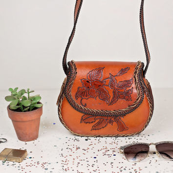 vintage floral tooled brown leather handbag / hand tooled leather crossbody satchel / 70s boho hippie leather bag