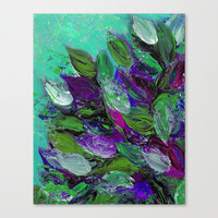 BLOOMING BEAUTIFUL 1 - Floral Painting Mint Green Seafoam Purple White Leaves Petals Summer Flowers Canvas Print by EbiEmporium