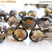 51% Off Sale Smoky Quartz Gemstone Briolette Checkerboard Faceted Heart 11mm 5 beads