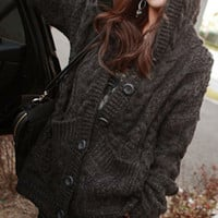 Dark Gray Long Sleeve Hoodie Cardigan