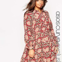 ASOS Curve | ASOS CURVE Belted Shirt Dress in 70's Floral at ASOS