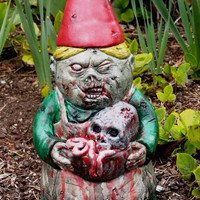 "Zombie Garden Gnome, ""Mrs. Dead"" Cast Concrete, IN STOCK, ships right away."
