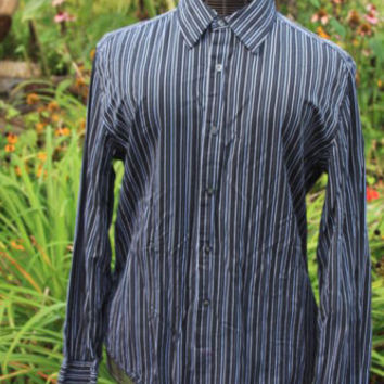 Gap Button Up Black Striped Shirt Large L Long Sleeve