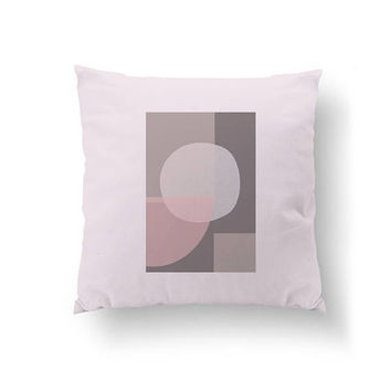 Subdued Colors, Decorative Pillow, Simple Art, Abstract Shape, Throw Pillow, Home Decor, Pink Gray Circle, Scandinavian Decor, Cushion Cover