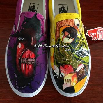 Slip On Vans Shoes with Hand Painting of Anime Attack On Titan Custom Design Canvas Sh