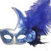 Blue and Silver Venetian Masquerade Mask with Blue Ostrich Plume and Flower on the Side