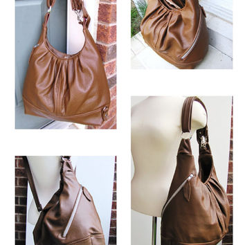 Women's Pleated Bag- Oak Tan Leather- Convertible Pack Bag- Over Shoulder Bag- Best Backpack