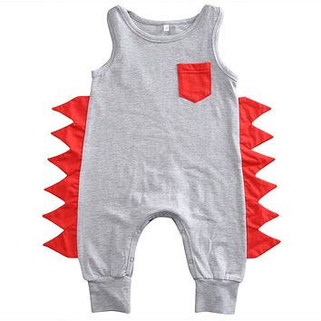 Cotton dinosaur Romper baby clothes Newborn Baby Boy Sleeveless Romper Jumpsuit Playsuit Outfit Clothes 0-24M
