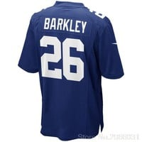 Free shipping Men's Saquon Barkley Royal 2018 Draft First Round Pick Game Jersey New York