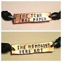 The town was paper The memories were not two sided copper adjustable cord bracelet