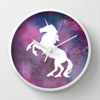 Wall Clock Galaxy Unicorn Nebula Space Stars Purple Pink Hipster Science Home Decor Wall Decor Made To Order Clock Custom Clock