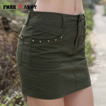 Women's High Fashion Mini Skirt Skort Army Green or Camouflage. See Euro size chart.