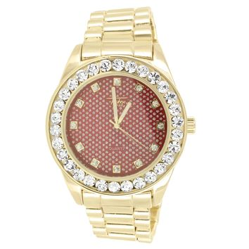 Men's Red Face Gold Finish Solitaire Bezel Large Watch