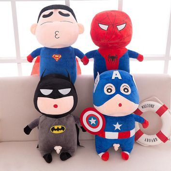 2018 New Crayon Shin Chan Cosplay Superman Action Figure Plush Toy Avengers Batman Spiderman Captain American Figure Doll Toys