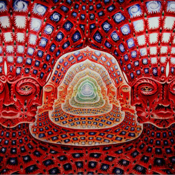 Alex Grey Red Face Pattern Canvas Poster