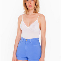 Stretch Bull Denim High-Waist Cuff Short | American Apparel