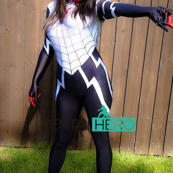 Free Shipping DHL 3D Printing Spider Women Suit Silk Cindy Moon Spider Man Costume 2017 NEW Cosplay Halloween Bodysuit 16062201