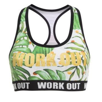 Zohra Work Out Series Women Fitness Bra Gold Palm Printing Fashion Tops Breathable Sexy Woman Short vest