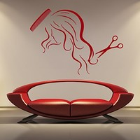 ik870 Wall Decal Sticker hair salon girl hairstyle barber scissors styling comb