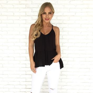Nirvana Peplum Top in Black